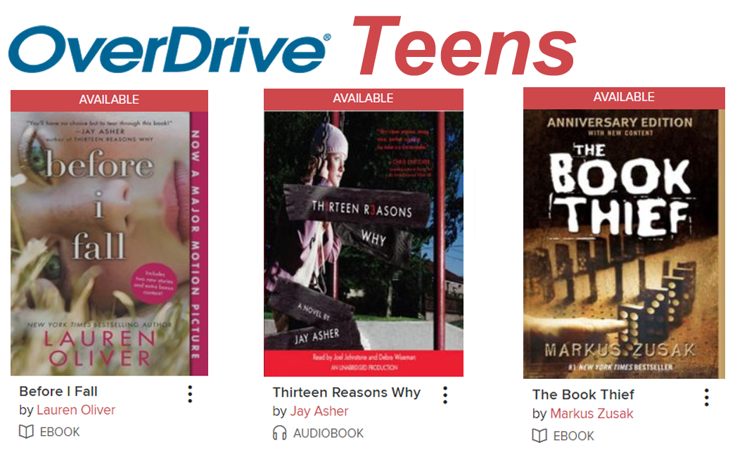 OverDrive for Teens has ebooks and audiobooks for young adults