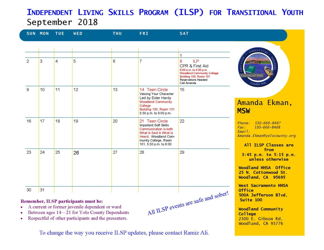 Independent Living Skills Program Yolo County
