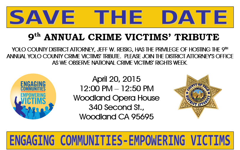 Victim Services 9th Annual Crime Victims Tribute - Save the Date