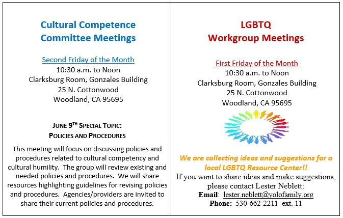 Cultural Competence Upcoming Meetings