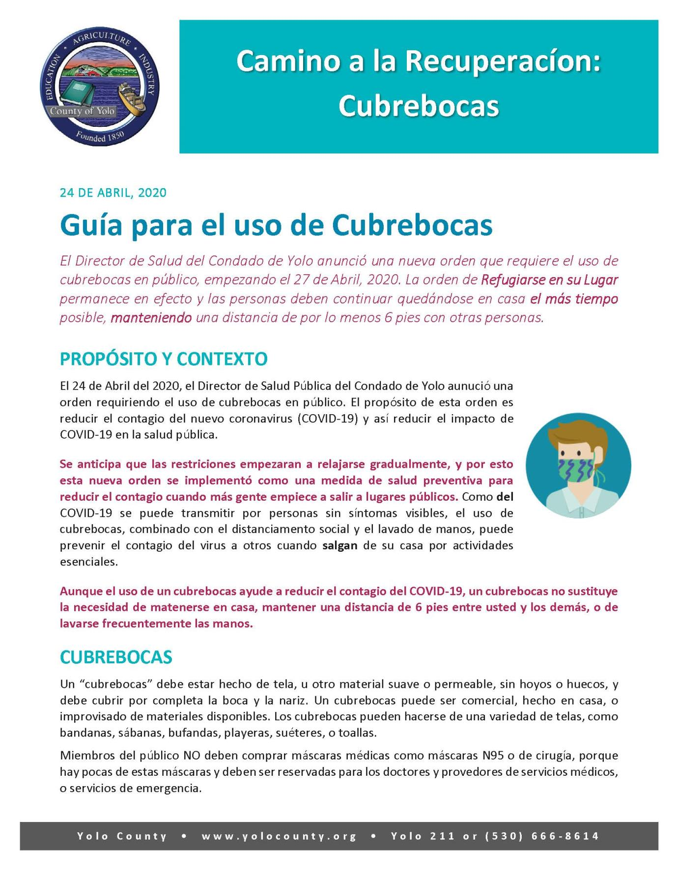 Guidance Document - Face Covering (SPANISH)