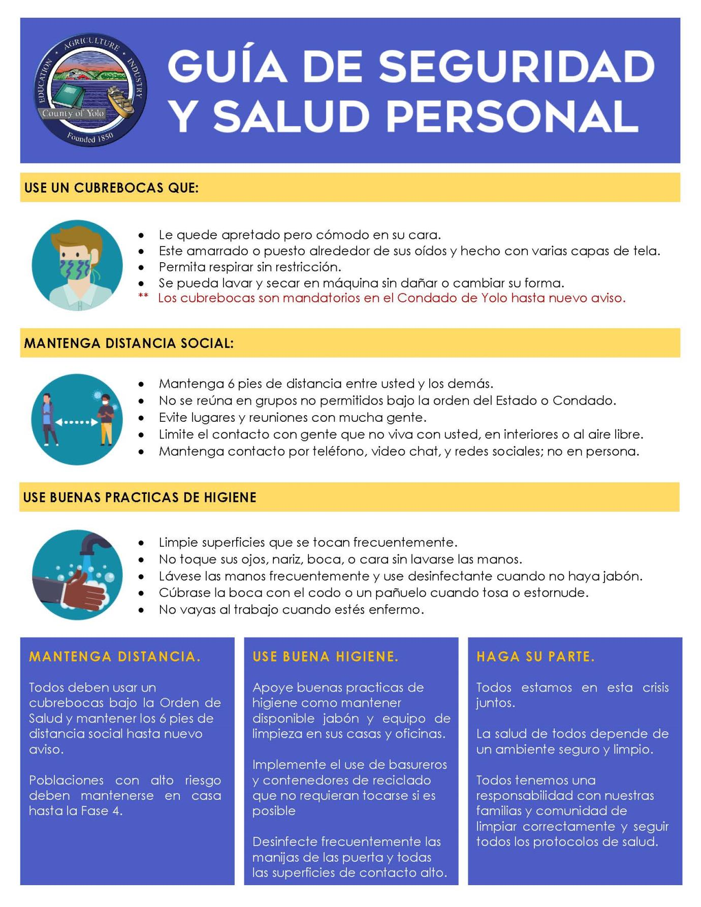 Personal Health and Safety Guidance SPANISH