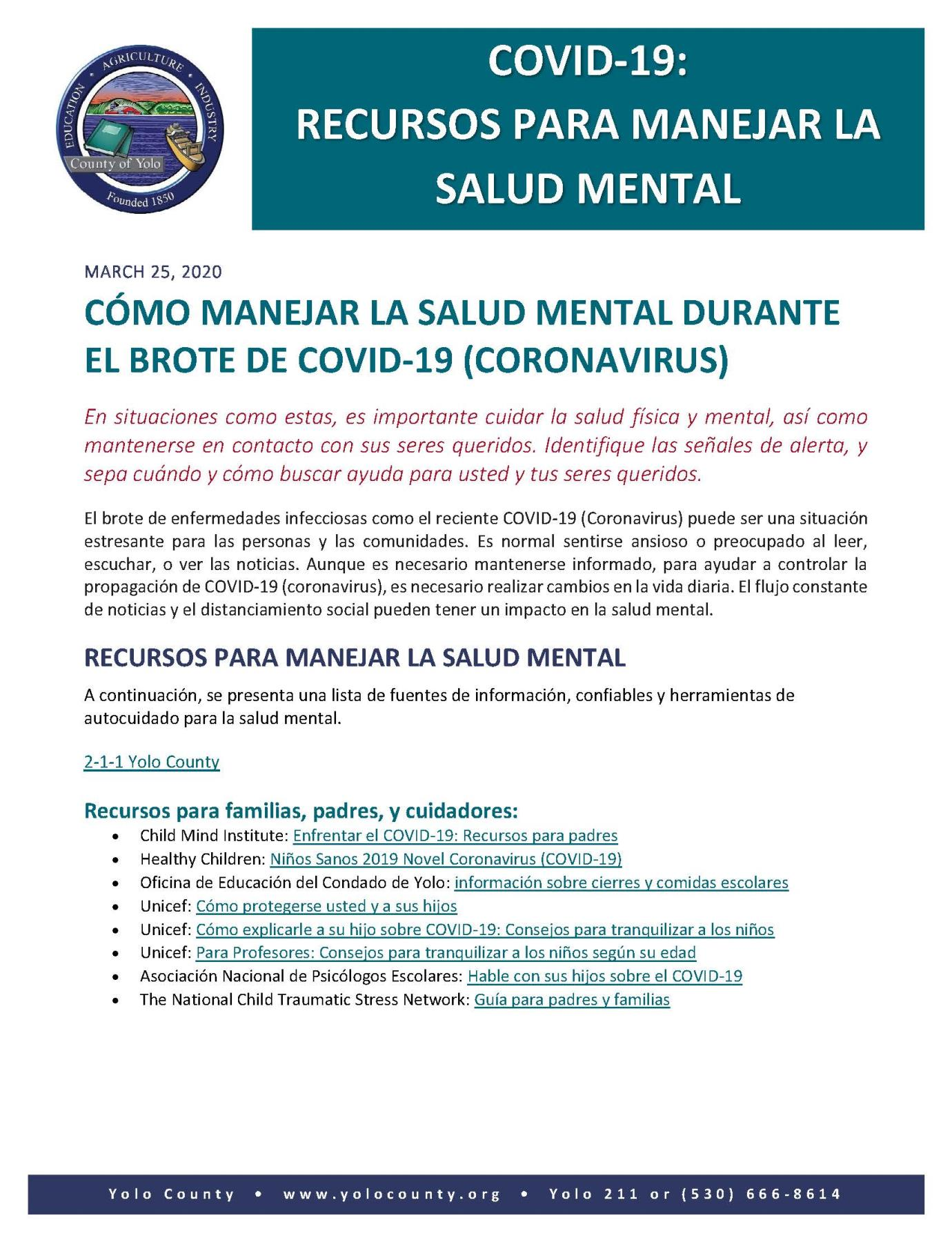 DRAFT COVID 19 Mental Health Resources- Spanish- 3.27.20