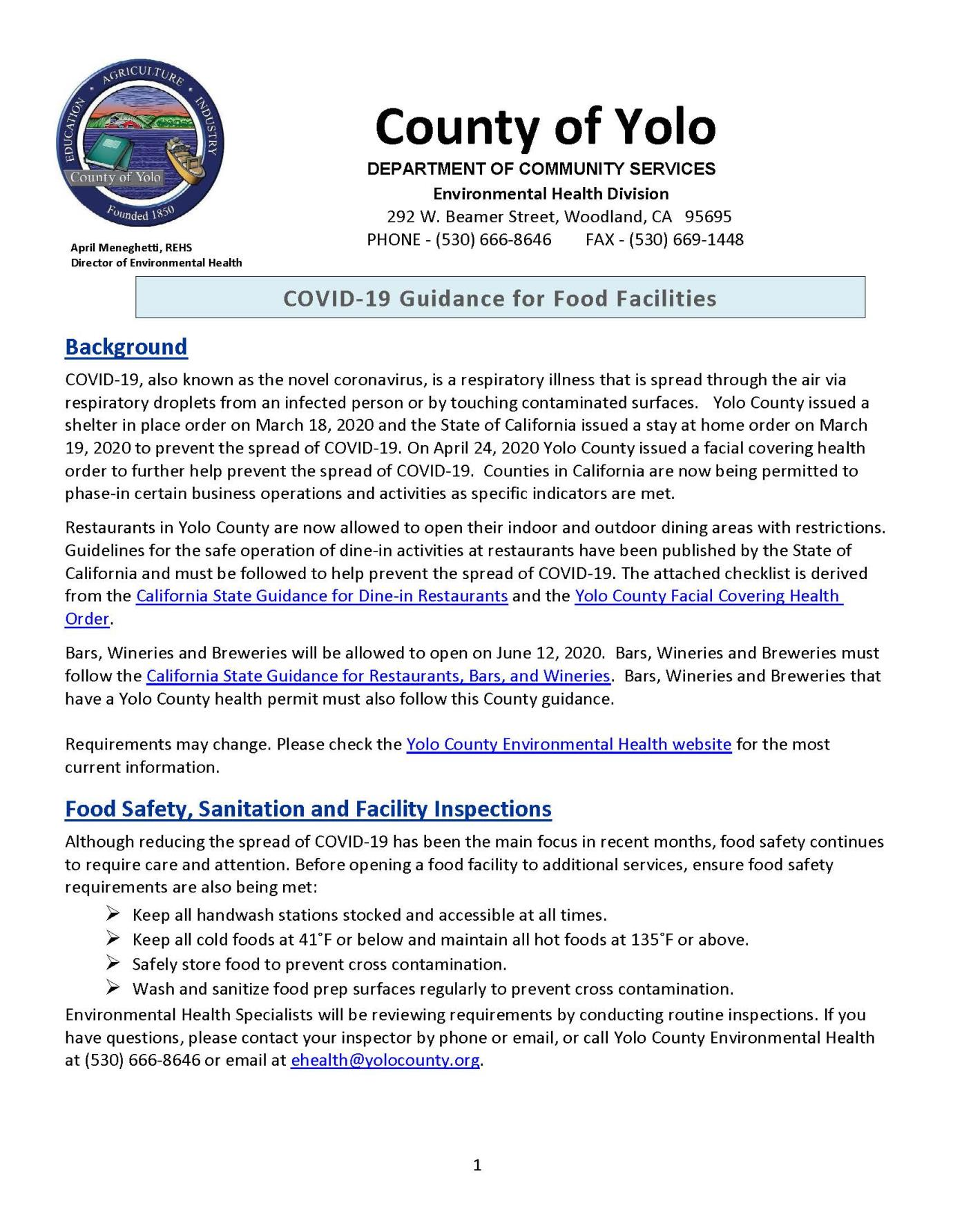 COVID-19 Guidance for Food Facilities 6-9-20
