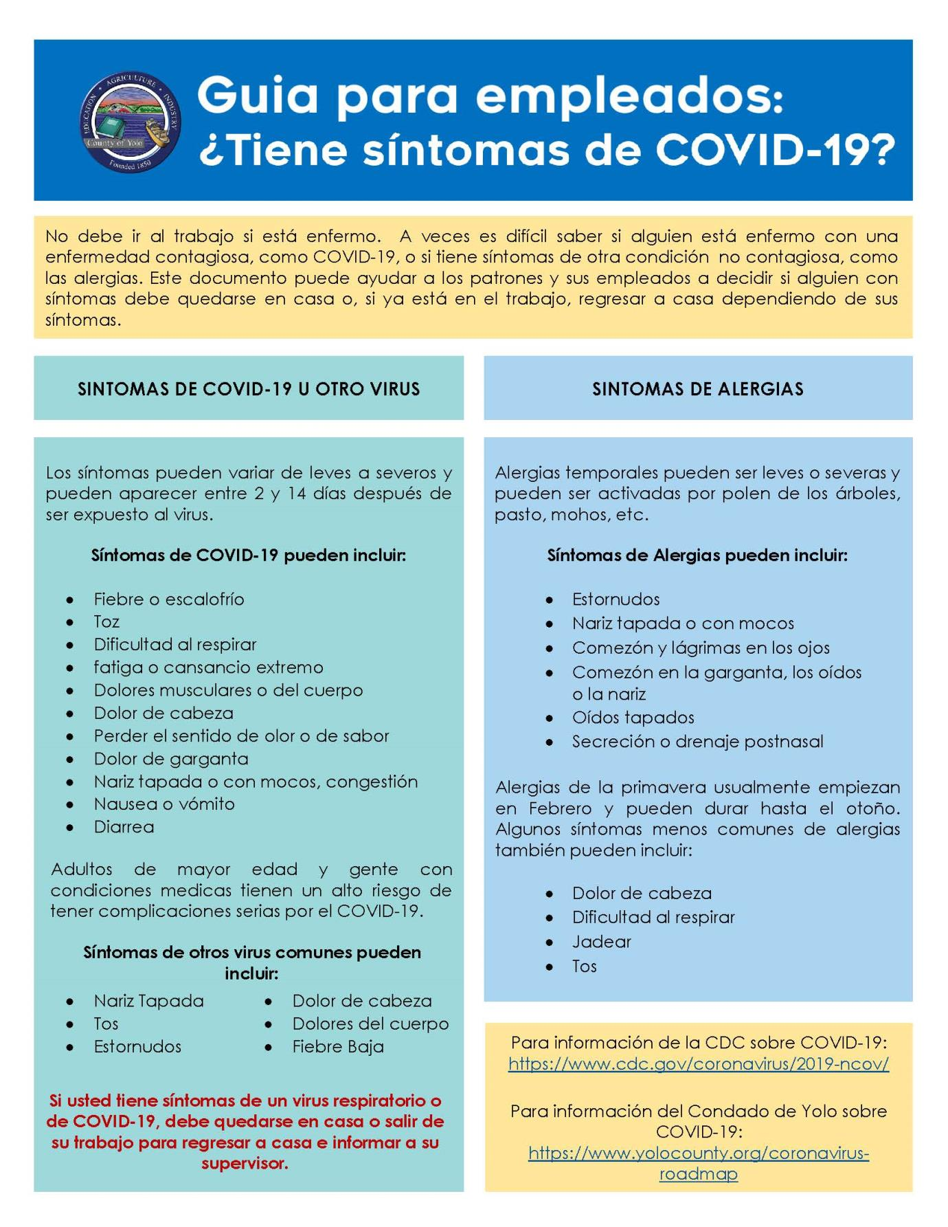 Employee Checklist - COVID-19 or Something Else (2 columns) SPANISH