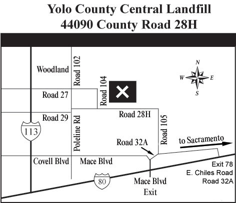 Map to Yolo County Central Landfill